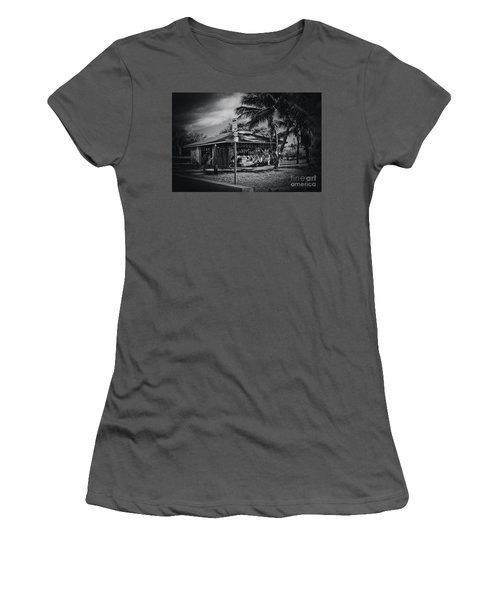 Women's T-Shirt (Junior Cut) featuring the photograph Mala Wharf Showers Lahaina Maui Hawaii by Sharon Mau