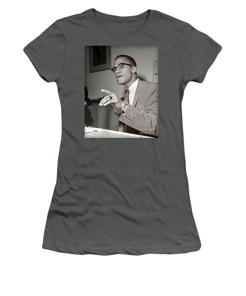 Women's T-Shirt (Junior Cut) featuring the photograph Malcolm X  by Martin Konopacki Restoration