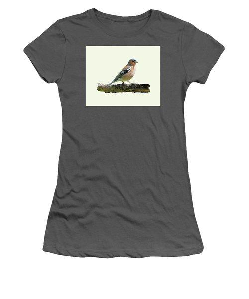 Male Chaffinch, Cream Background Women's T-Shirt (Junior Cut) by Paul Gulliver