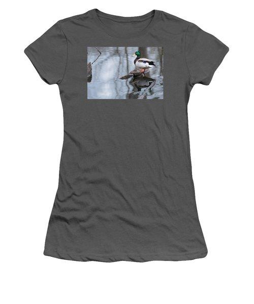 Women's T-Shirt (Junior Cut) featuring the photograph Mallard Drake by Edward Peterson