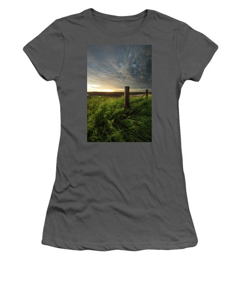 Women's T-Shirt (Athletic Fit) featuring the photograph Mammatus Sunset by Aaron J Groen