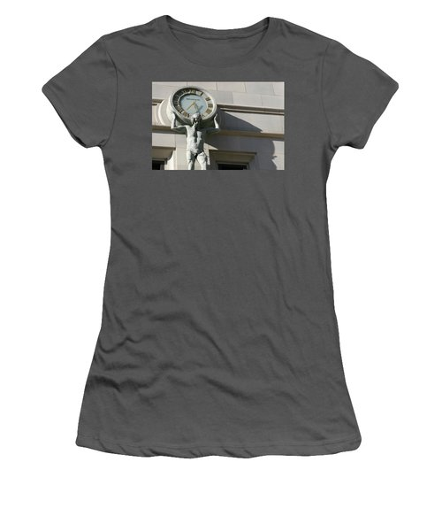 Man Holding Up Time Women's T-Shirt (Athletic Fit)