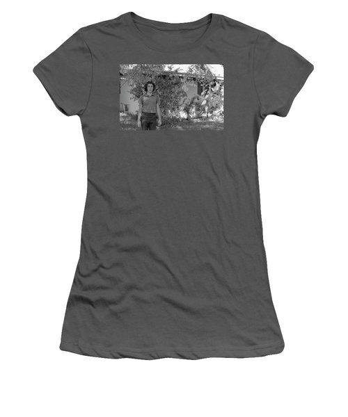Man In Front Of Cinder-block Home, 1973 Women's T-Shirt (Athletic Fit)
