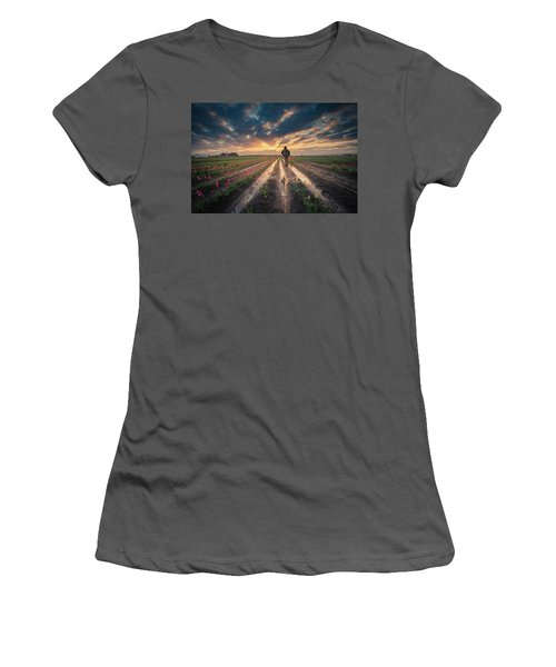 Women's T-Shirt (Athletic Fit) featuring the photograph Man Watching Sunrise In Tulip Field by William Lee