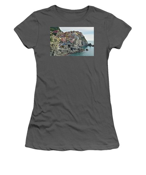 Women's T-Shirt (Junior Cut) featuring the photograph Manarola Version Three by Frozen in Time Fine Art Photography