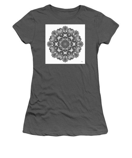 Women's T-Shirt (Junior Cut) featuring the digital art Mandala To Color 2 by Mo T