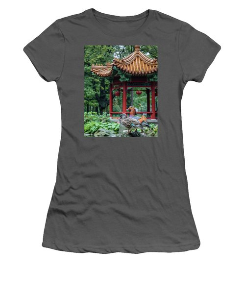 Mandarin Ducks At Pavilion Women's T-Shirt (Athletic Fit)