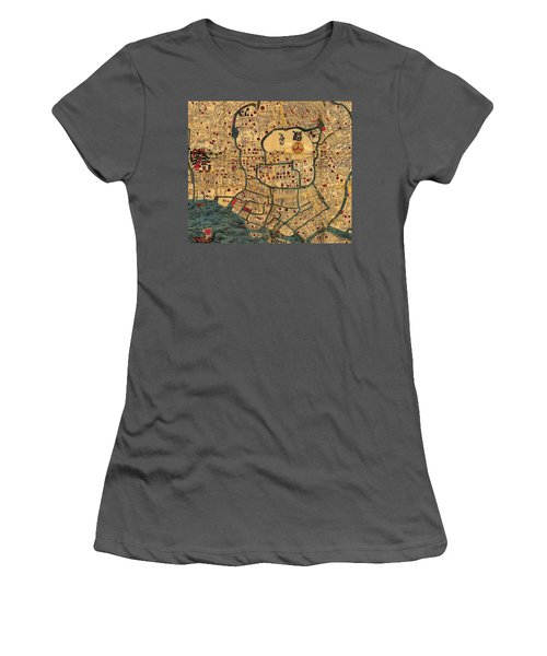 Map Of Tokyo 1845 Women's T-Shirt (Junior Cut) by Andrew Fare