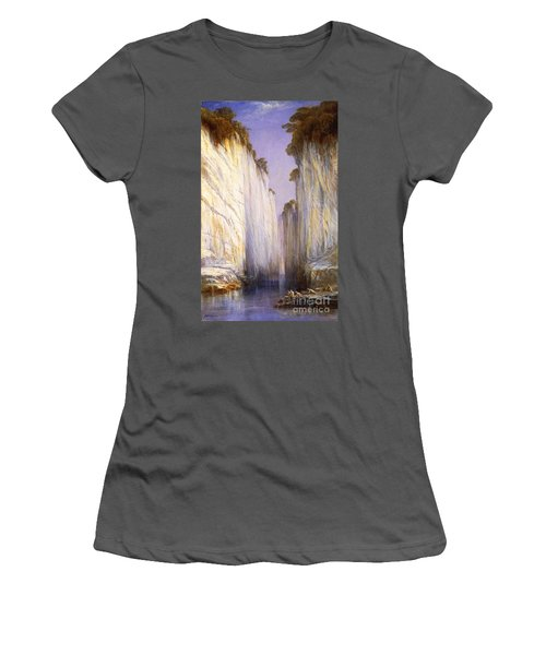 Women's T-Shirt (Junior Cut) featuring the painting Marble Rocks - Nerbudda Jubbulpore by Pg Reproductions