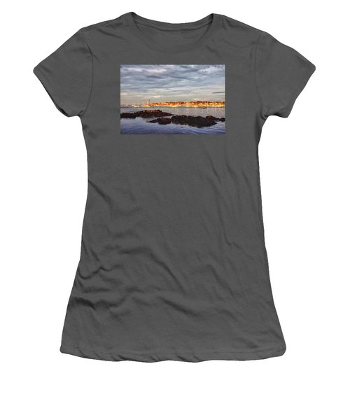 Women's T-Shirt (Athletic Fit) featuring the photograph Marblehead Neck From Fort Beach by Jeff Folger