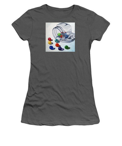 Marbles And Glass Jar Still Life Painting Women's T-Shirt (Junior Cut) by Linda Apple
