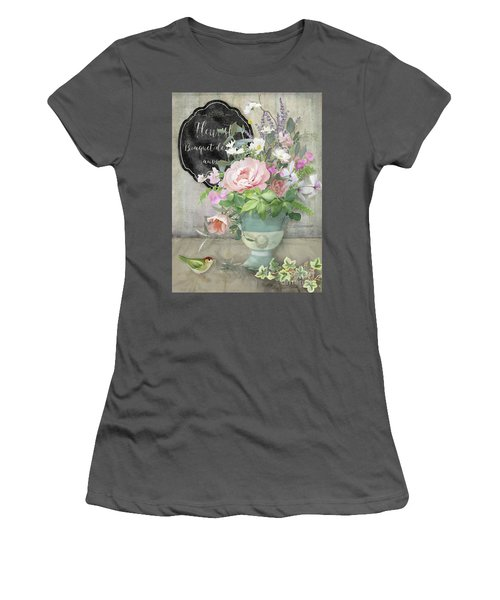 Women's T-Shirt (Athletic Fit) featuring the painting Marche Aux Fleurs 3 Peony Tulips Sweet Peas Lavender And Bird by Audrey Jeanne Roberts
