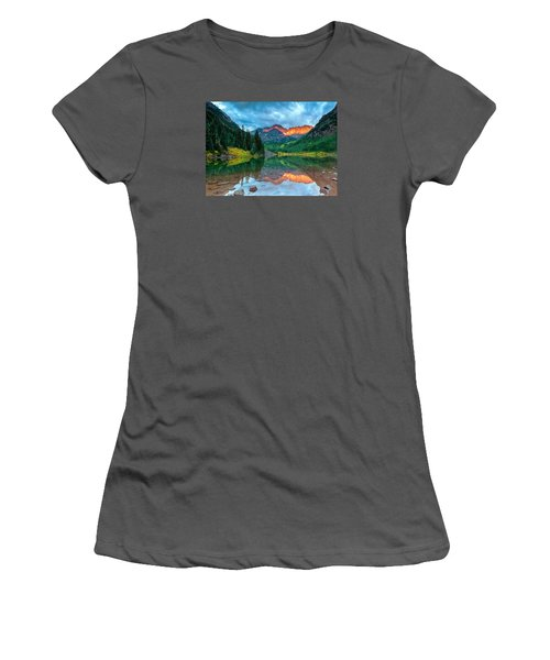 Maroon Bells Sunrise Women's T-Shirt (Junior Cut) by John Vose