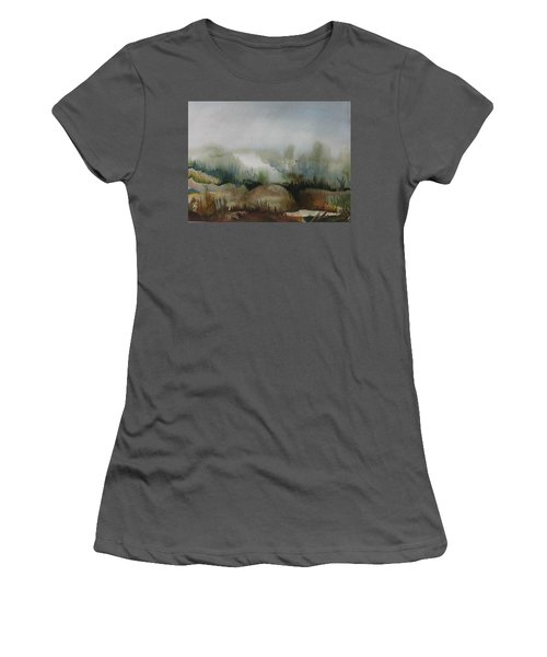 Women's T-Shirt (Junior Cut) featuring the painting Marsh by Anna  Duyunova