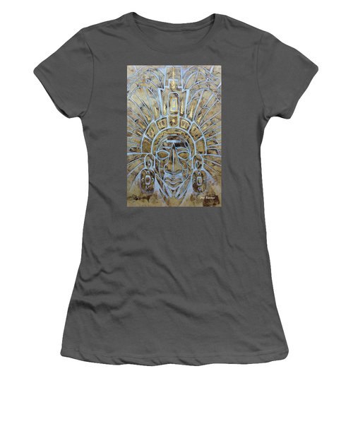 Women's T-Shirt (Junior Cut) featuring the painting Mayan Warrior by J- J- Espinoza