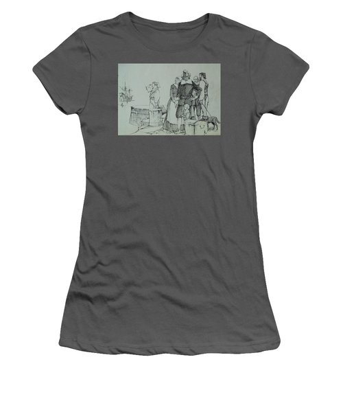 Women's T-Shirt (Junior Cut) featuring the drawing Mayflower Departure. by Mike Jeffries