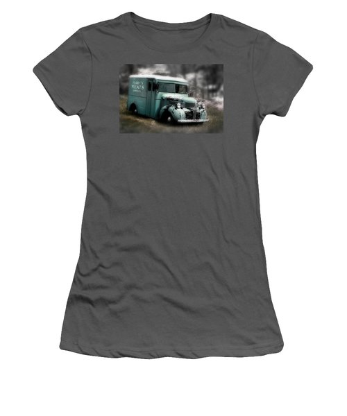 Women's T-Shirt (Junior Cut) featuring the painting Meat Truck by Gray  Artus