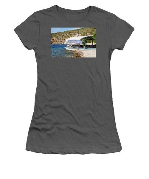 Meganissi Beach Taverna Women's T-Shirt (Athletic Fit)