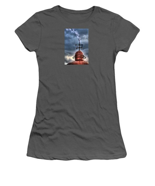 Menorca Copper Lighthouse Dome With Lightning Rod Under A Bluish And Stormy Sky And Lightning Effect Women's T-Shirt (Junior Cut) by Pedro Cardona