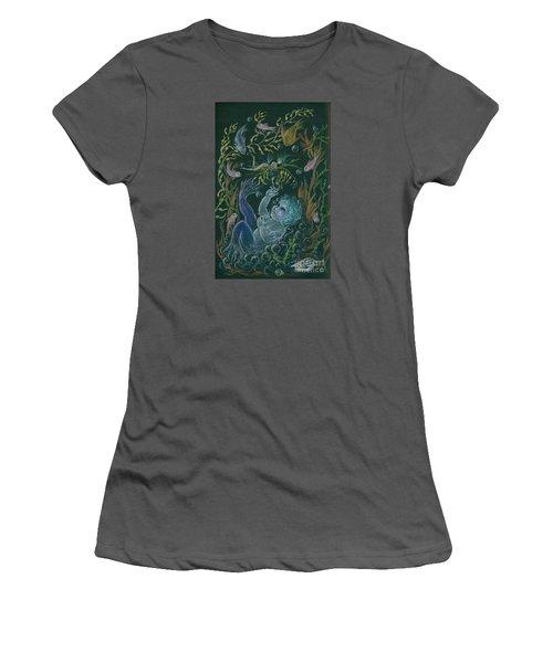 Women's T-Shirt (Junior Cut) featuring the drawing Merbaby Blue by Dawn Fairies