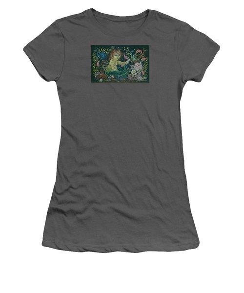 Merbaby Golden Green Women's T-Shirt (Junior Cut) by Dawn Fairies