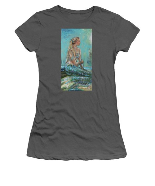 Mermaid Sunning On Shore Women's T-Shirt (Athletic Fit)