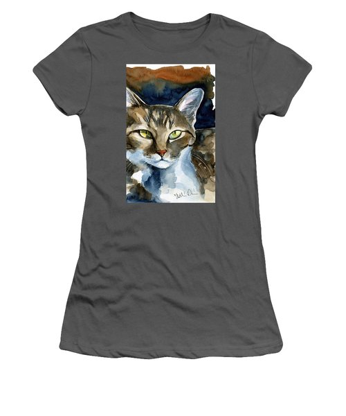 Mesmerizing Eyes - Tabby Cat Painting Women's T-Shirt (Athletic Fit)