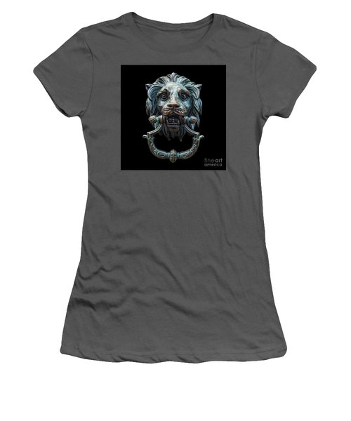 Women's T-Shirt (Junior Cut) featuring the photograph Metal Lion Head Doorknocker Isolated Black by Antony McAulay
