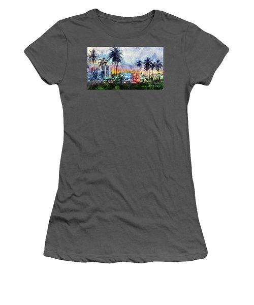 Miami Beach Watercolor Women's T-Shirt (Junior Cut) by Jon Neidert