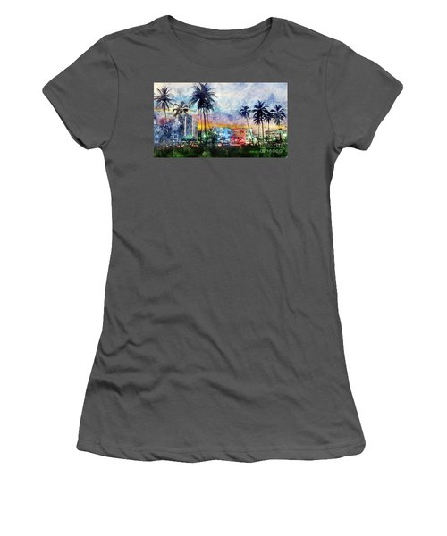 Miami Beach Watercolor Women's T-Shirt (Athletic Fit)