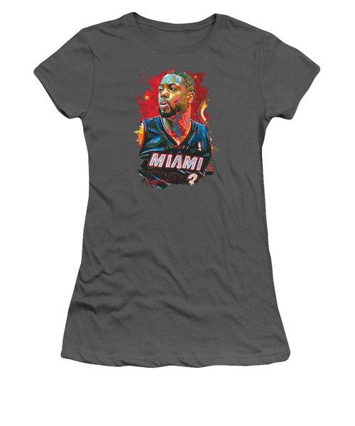 Miami Heat Legend Women's T-Shirt (Junior Cut) by Maria Arango