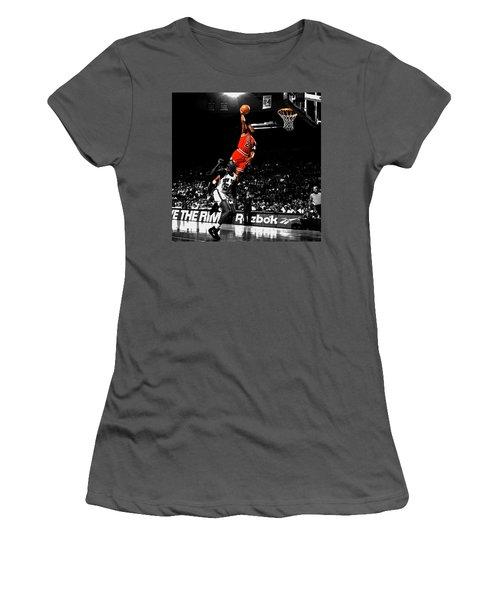Michael Jordan Suspended In Air Women's T-Shirt (Junior Cut) by Brian Reaves