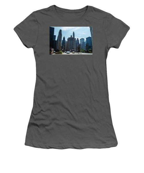 Michigan Avenue Bridge And Skyline Chicago Women's T-Shirt (Junior Cut) by Deborah Smolinske
