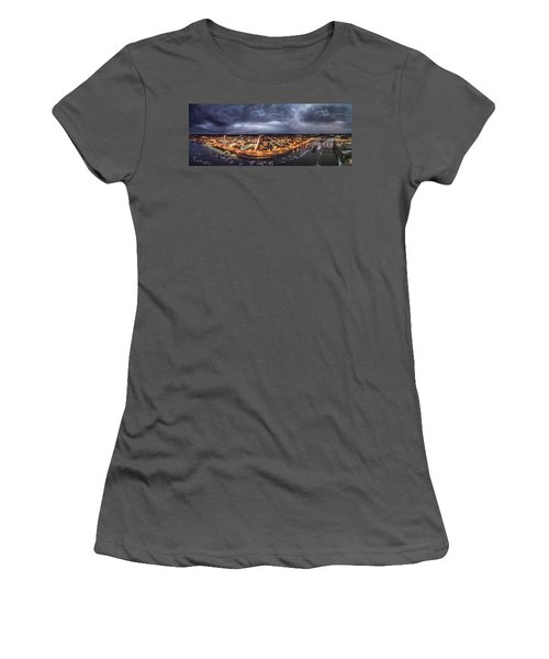 Women's T-Shirt (Junior Cut) featuring the photograph Middletown Connecticut, Twilight Panorama by Petr Hejl
