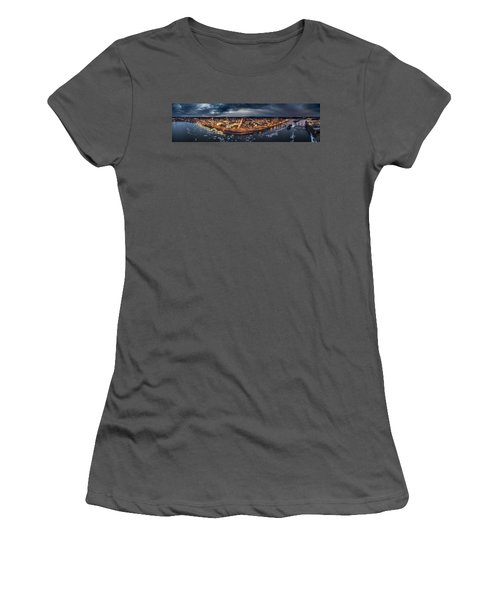 Women's T-Shirt (Junior Cut) featuring the photograph Middletown Ct, Twilight Panorama by Petr Hejl