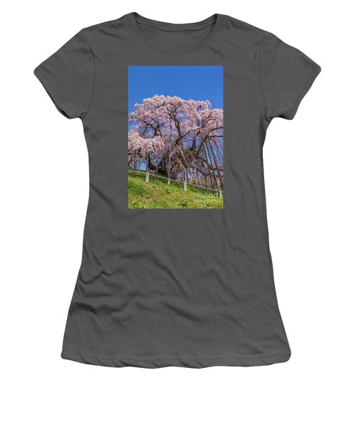 Women's T-Shirt (Athletic Fit) featuring the photograph Miharu Takizakura Weeping Cherry55 by Tatsuya Atarashi