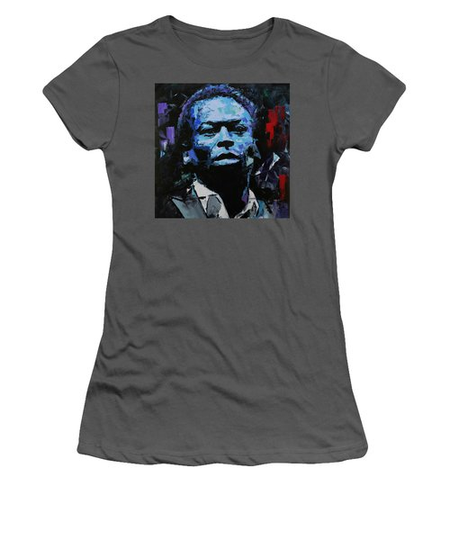 Women's T-Shirt (Junior Cut) featuring the painting Miles Davis by Richard Day