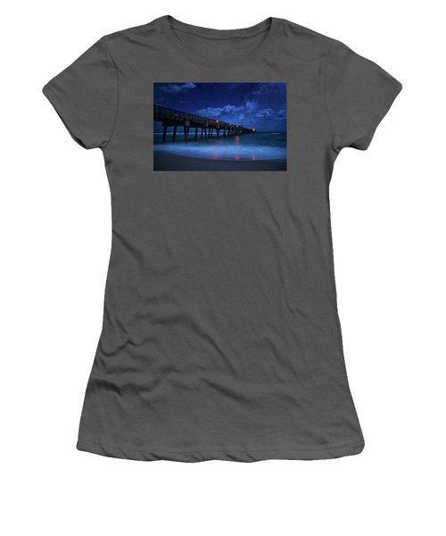 Milky Way Over Juno Beach Pier Under Moonlight Women's T-Shirt (Athletic Fit)