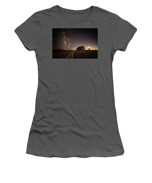 Milky Way Over Prairie House Women's T-Shirt (Junior Cut) by Kristal Kraft