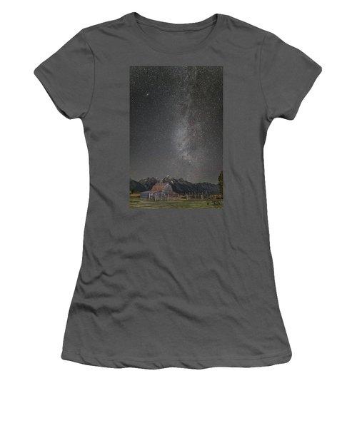 Milkyway Over The John Moulton Barn Women's T-Shirt (Junior Cut) by Roman Kurywczak