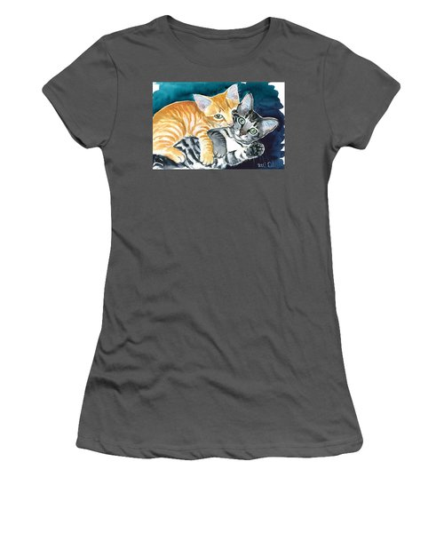 Milo And Tigger - Cute Kitty Painting Women's T-Shirt (Athletic Fit)