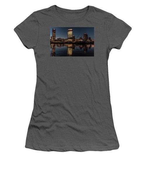 Women's T-Shirt (Junior Cut) featuring the photograph Milwaukee Reflections by Randy Scherkenbach