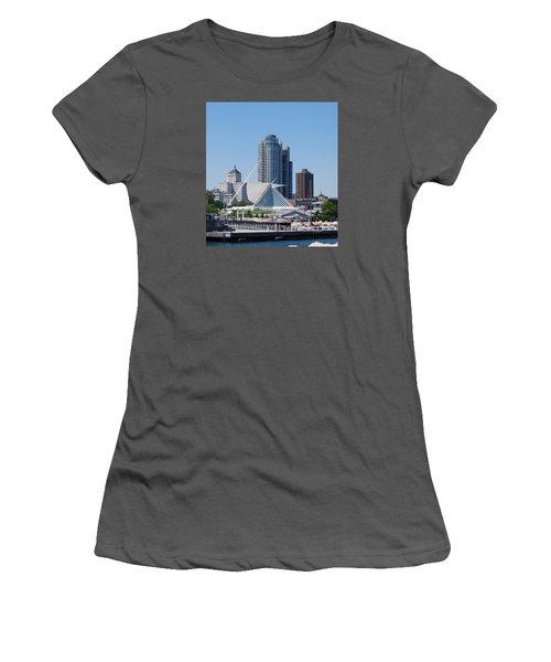 Women's T-Shirt (Junior Cut) featuring the photograph Milwaukee, Wi Shoreline by Ramona Whiteaker