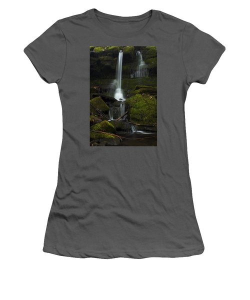 Women's T-Shirt (Junior Cut) featuring the photograph Mini Waterfall In The Forest by Jeff Severson