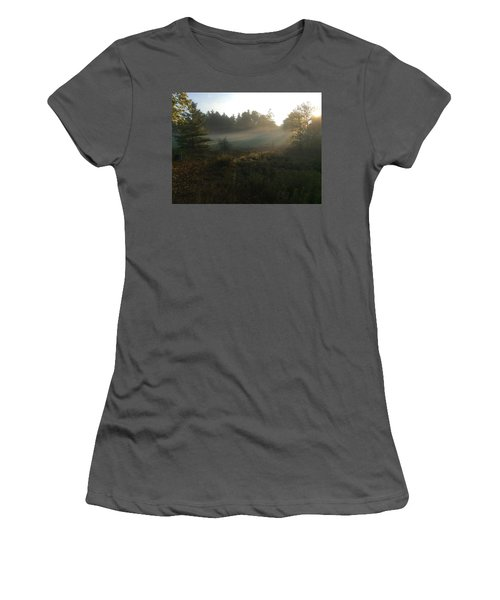 Women's T-Shirt (Junior Cut) featuring the photograph Mist In The Meadow by Pat Purdy