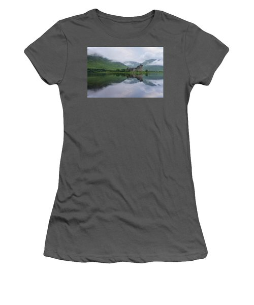 Mist Swarms Around Kilchurn Castle Women's T-Shirt (Athletic Fit)