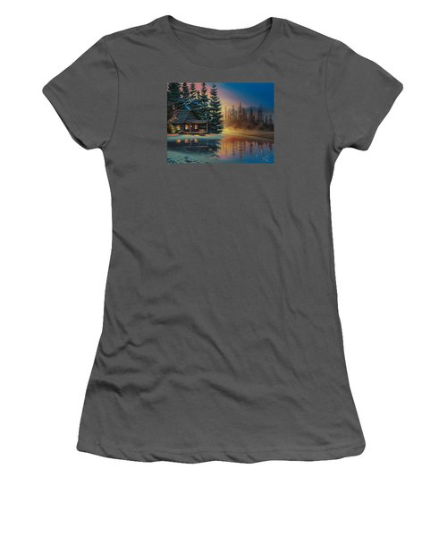 Women's T-Shirt (Junior Cut) featuring the painting Misty Refection by Al Hogue