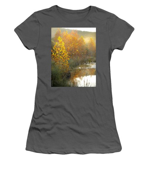Misty Sunrise At Lost Maples State Park Women's T-Shirt (Athletic Fit)
