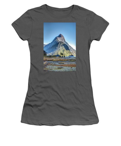 Women's T-Shirt (Athletic Fit) featuring the photograph Mitre Peak At Low Tide by Gary Eason