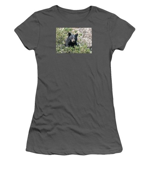 Momma Black Bear Eating Berries Women's T-Shirt (Athletic Fit)